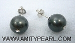 Silver 925 earrings - Shell pearl (black color) 10.5mm with crystal.jpg