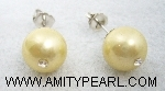 Silver 925 earrings - Shell pearl (light gold color) 10.5mm with crystal.jpg