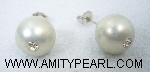 Silver 925 earrings - Shell pearl (light grey color) 12mm with crystal.jpg