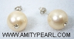 Silver 925 earrings - Shell pearl (pale orange color) 12mm with crystal.jpg