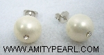 Silver 925 earrings - Shell pearl (white color) 10.5mm with crystal.jpg